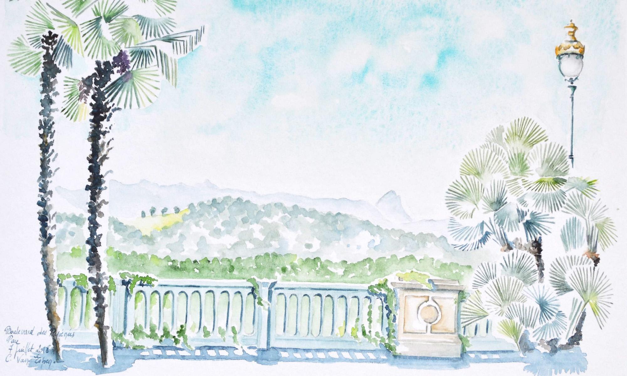A l'aquarelle, de face une balustrade ajourée. De part et d'autre, le feuillage de palmiers. En second plan le piemont pyrénéen aux tonalités vert. En arrière plan, la chaine des Pyrénées avec le pic du midi d'Ossau sur le droite. Le ciel est progressivement bleu sur la hauteur
