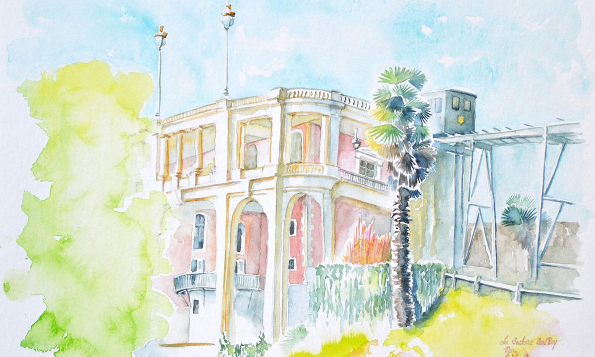 A l'aquarelle, un bâtiment aux couleurs roses, vu du bas. Sur le sommet, une rambarde de terrasse surmontée de deux lampadaires. A droite, un funiculaire arrive sur la terrasse. A la jonction de la terrasse et du funiculaire, le sommet d'un palmier planté à la base du bâtiment. La végétation qui encadre le bâtiment est vert anis ou vert pomme