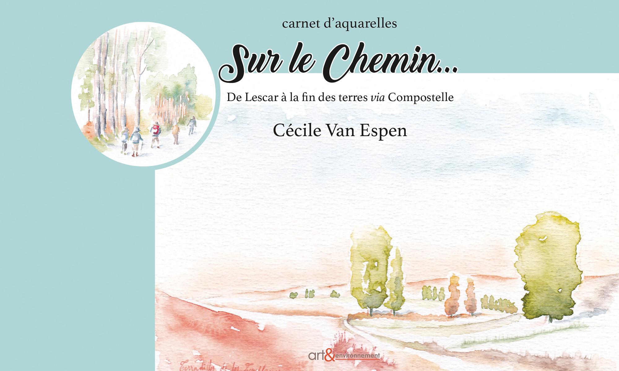 La page de couverture est de couleur bleu. Elle présente deux aquarelles. Sur les 2/3 en partant de la droite, une aquarelle de Terradillos de los Templarios. Sur son angle gauche, dans un cercle, des marcheurs  (entrée de Compostelle)