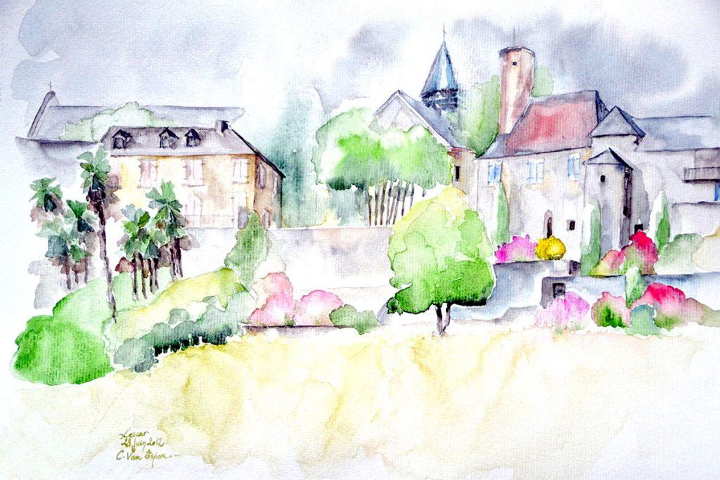 à l'aquarelle, vue sur les remparts sud de lescar