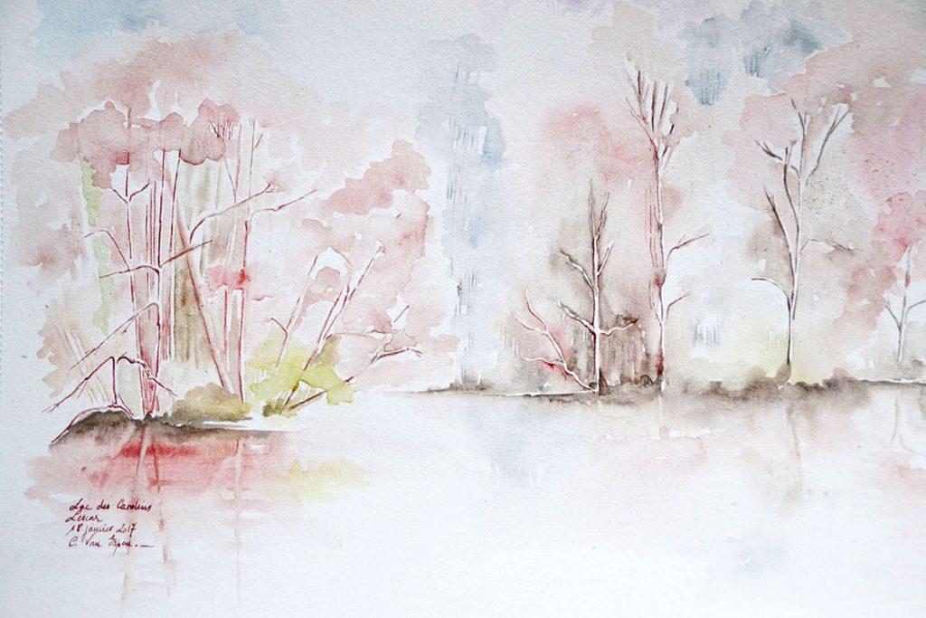 à l'aquarelle, le lac des carolins en hiver