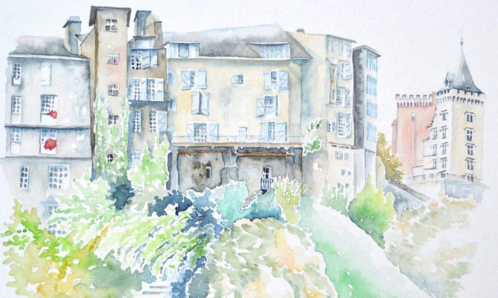 à l'aquarelle, vue depuis le bas du quartier du hédas à pau. de face, les immeubles étraits, vieux et haut posés sur un monticulte arboré dans le côté droit, une tour du chateau de pau.