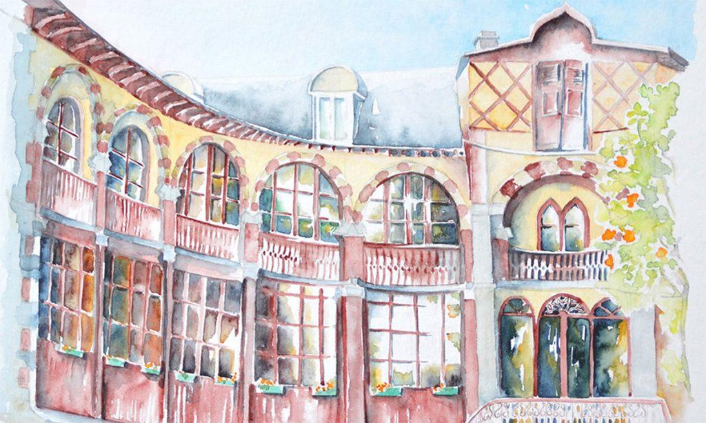 à l'aquarelle, gros plan sur une façade de bâtiment. Les murs sont jaune or, les boisereies des nombreuses baies vitrées à petits carreaux sont rouges. la facade est incurvée en demi cercle