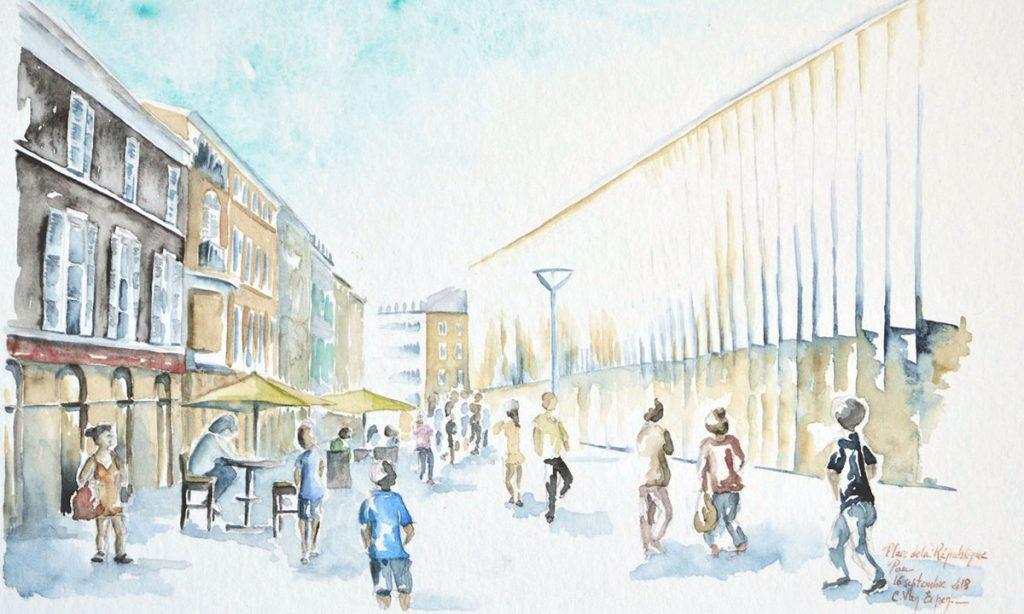 à l'aquarelle, le nouveau quartier des halles de pau, il y a du monde dans la rue qui longe sur la droite les halles