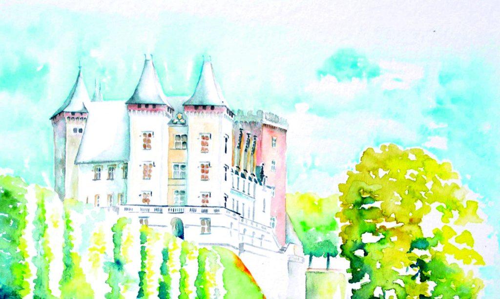 château de pau vu du parc du château