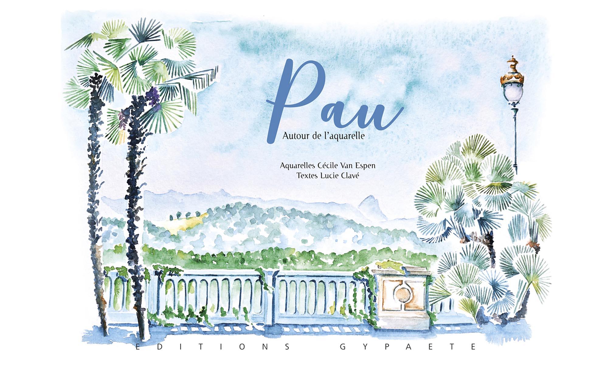 Le Boulevard des Pyrénées à Pau avec vue sur la chaine des Pyrénées en fond. Deux palmiers, d'un côté, et un lampadaire de l'autre encadrent la chaine et la balustrade. Le titre est dans le ciel. Pau est en bleu et très grand.