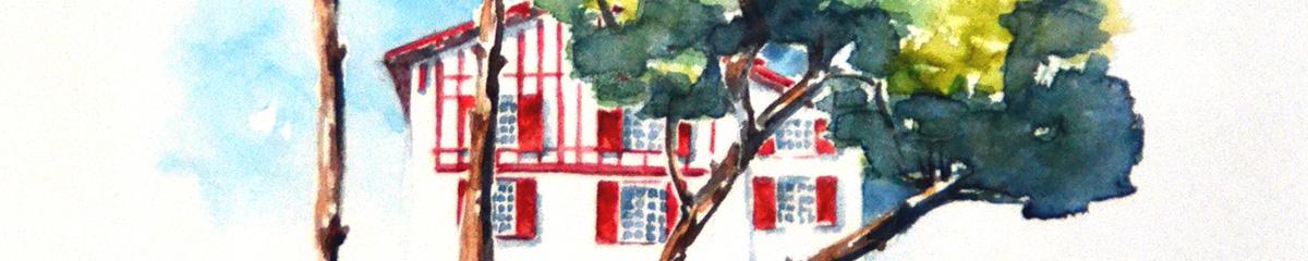 Aquarelle du Pays Basque, format bandeau, le 1er et 2ème étagle de villa basque aux boiseries rouges. Devant, les troncs de 4 pins qui penchent de plus en plus vers la droite