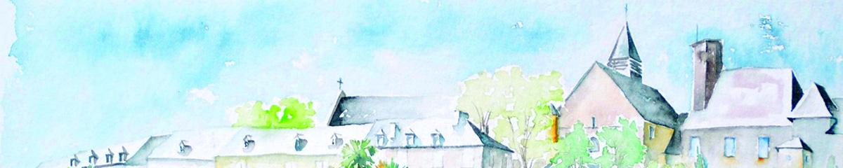 Aquarelle de Lescar, le bandeau des toitures de la cité de Lescar vue des remparts sud
