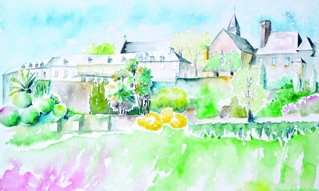 A l'aquarelle, cité de Lescar vue depuis le chemin de Beneharnum