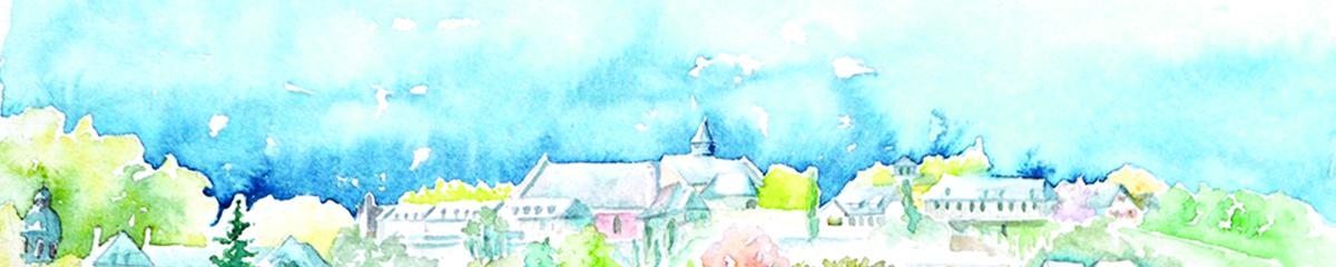 Aquarelle de Lescar, vue des remparts sud de Lescar, au centre on devine le clocher de l'ancienne cathédrale, à gauche celui du lycée Jacques-Monod