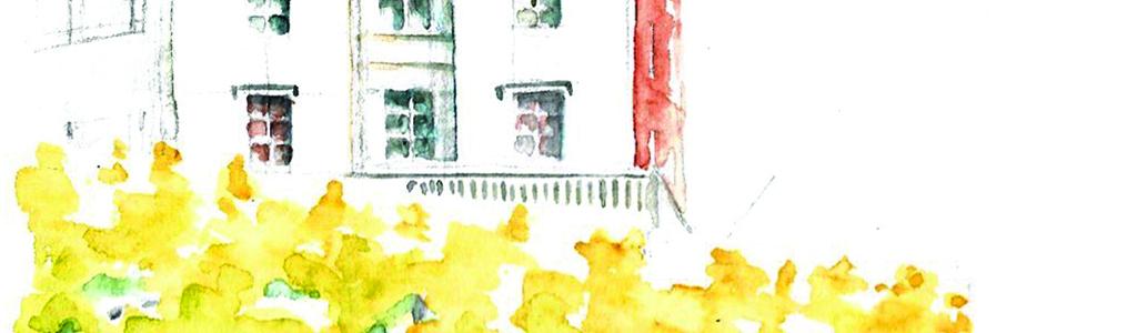 aquarelle (détail) représentant le sommet d'une haie en rideau aux couleurs d'automne qui souligne les bases du château de Pau