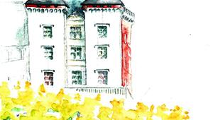 Aquarelle de Pau, le Château : les deux tours ouest au dessus d'une haie en rideau aux couleurs d'automne.