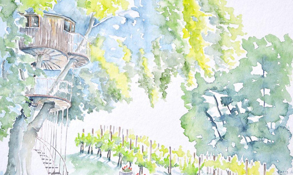 A l'aquarelle, en haut d'un arbre, dans le feuillage, une cabanne. Au pied de l'abre qui est à gauche, une vigne