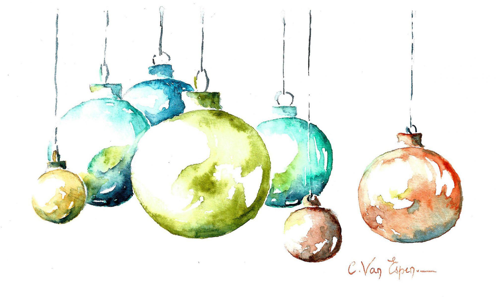 A l'aquarelle, une série de boules de Noël suspendues : celle de premier plan est vert olive légèrement décentrée sur la gauche. Derrière, des boules plus petites dans les tonalités de bleu vif et de sienne et orangé