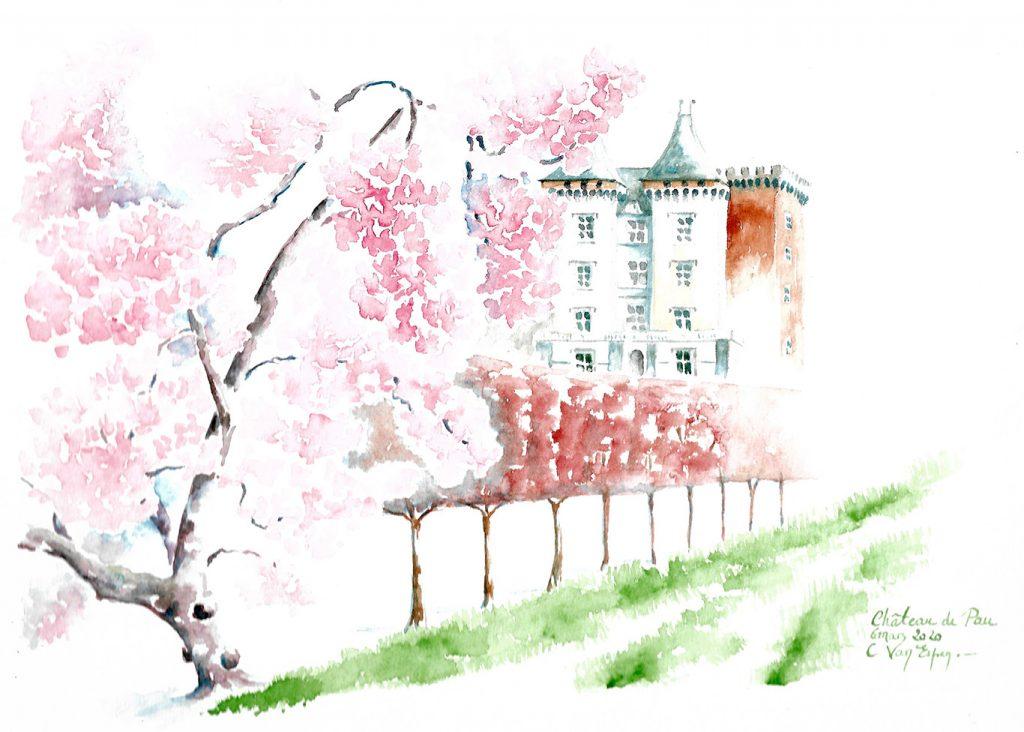 A l'aquarelle, sur la gauche, en gros plan, une partie d'un magnolia de pied. Il recouvre le sommet du château de Pau. A mi hauteur, une  haie, brun orange, taillée en rideau accentue la persceptive