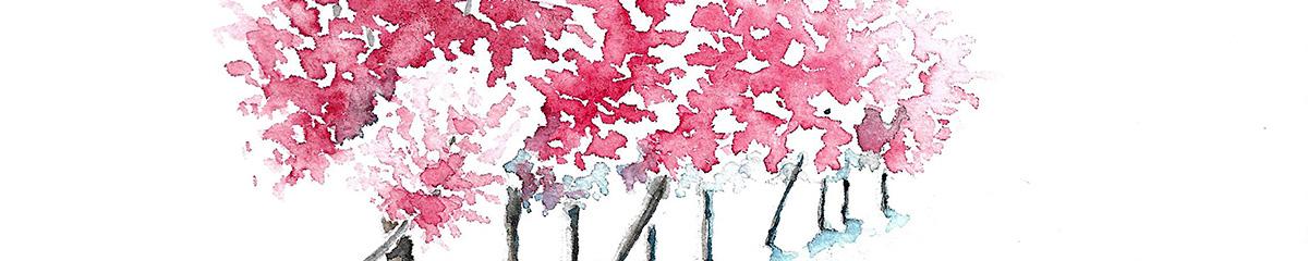 Ateliers de printemps, bandeau de la haie de prunus à l'aquarelle, en fleurs, rose, en perspective. Le premier plan est à gauche, la haie s'éloigne vers la droite en diminuant progressivement.