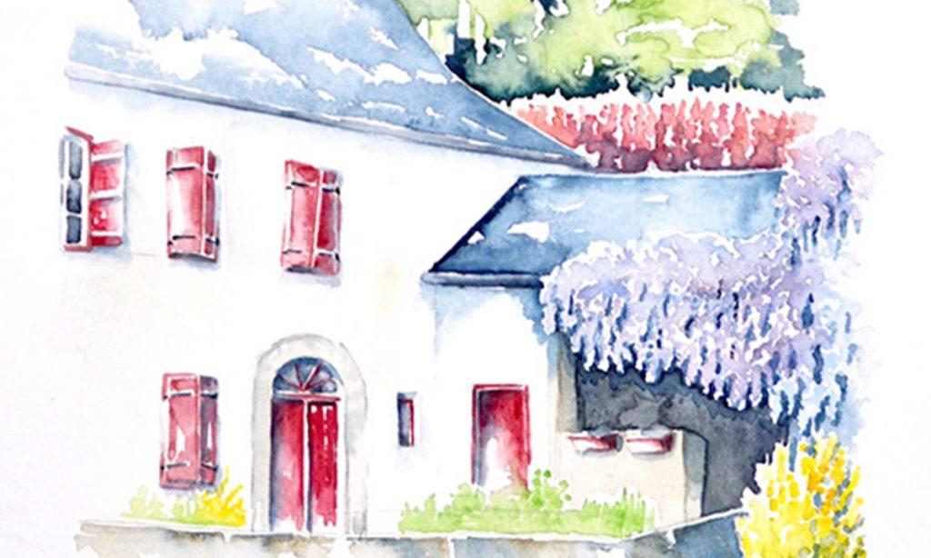 Aquarelle du Pays Basque, un gros plan sur une maison basque, mur blanc, portes et fenêtre rouges, sur la droite, à angle droit par rapport au bâtiment principal une grange habillée au niveau de la toiture par une glycine en fleur