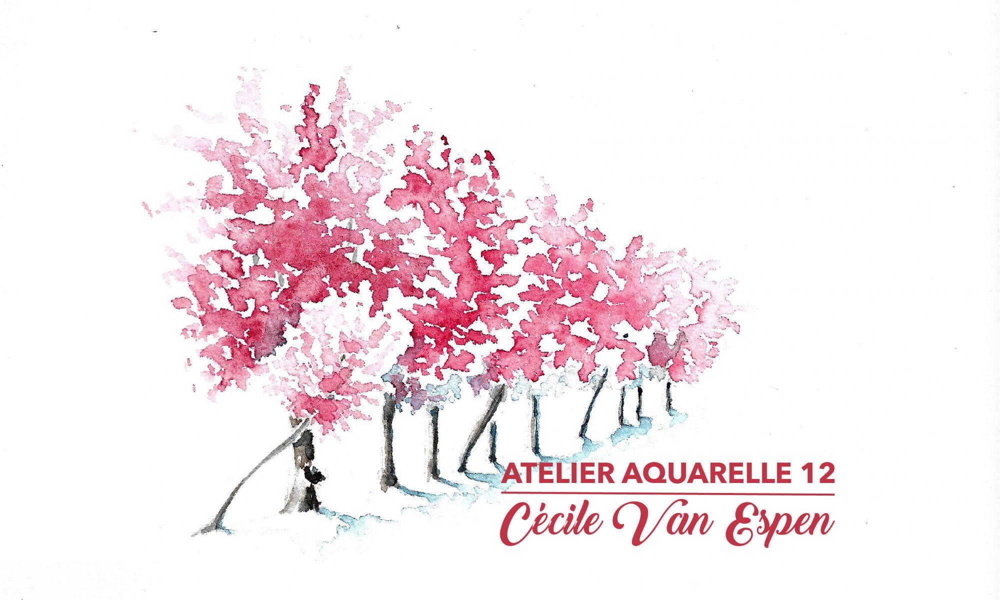 Prunus à l'aquarelle, une haie de prunus en fleurs, rose, en perspective. Le premier plan est à gauche, la haie s'éloigne vers la droite en diminuant progressivement. En premier plan, à droite, le titre du tuto.