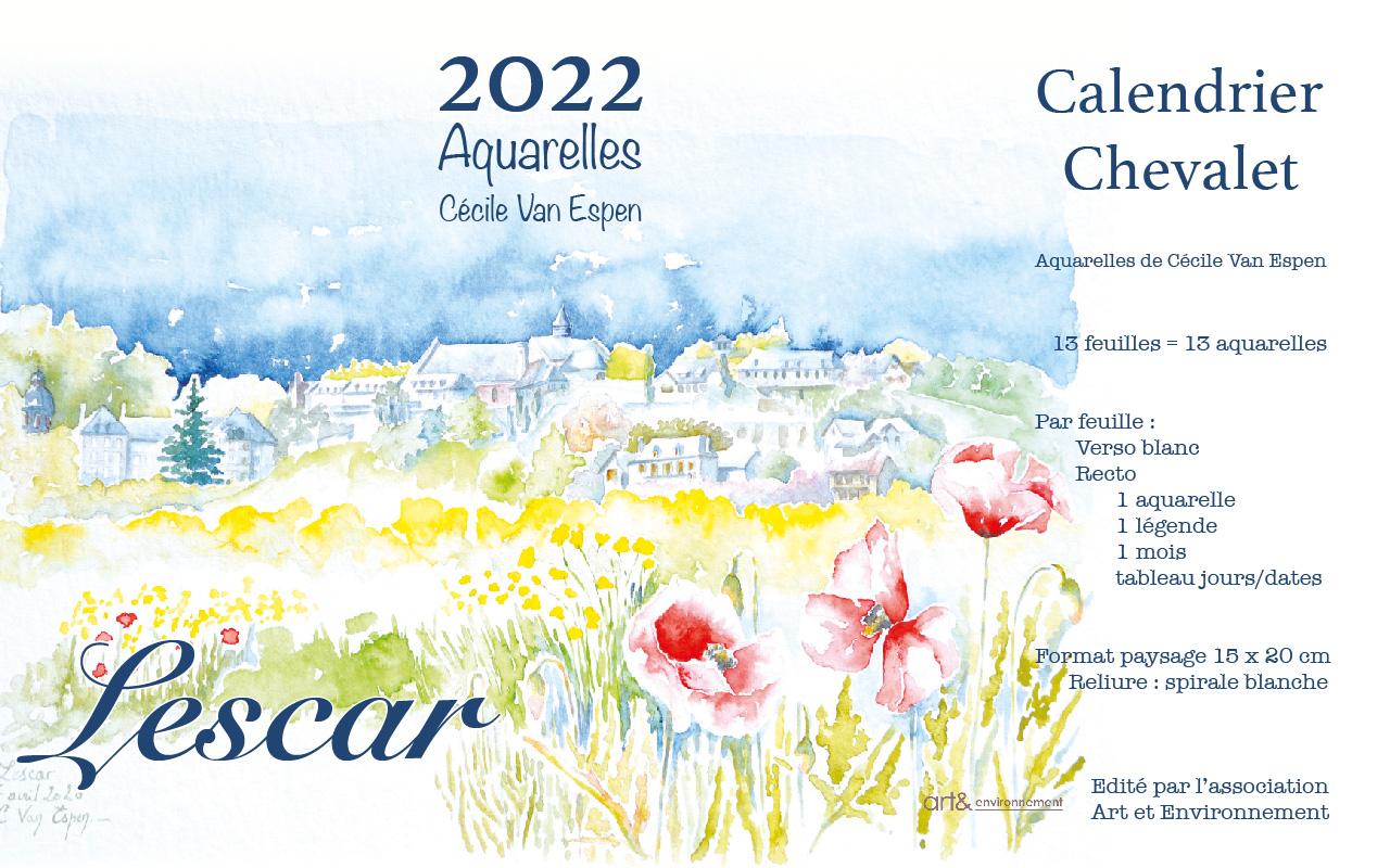 Lescar 2022 Présentation du calendrier-chevalet, sur les 2/3 gauche, la page de couverture. Sur 1/4 droite en colonne, toutes les caractéristiques du produit