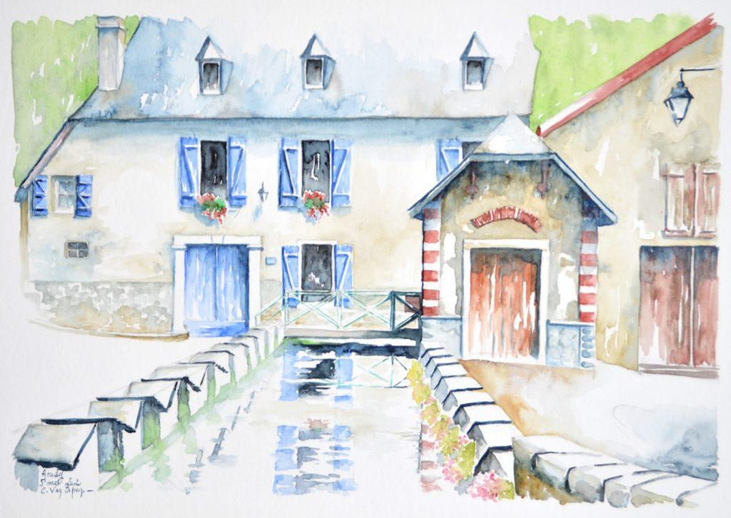 Aquarelles du Béarn, un lavoir vu sur la longueur, avec de part et d'autres les stations des lavandières. En fond, une villa bourgeoise aux volets bleu et toiture en ardoise. Elle est à un étage. Sur la droite en plan intermédiaire, des bâtiments aux boiseries brun rouge