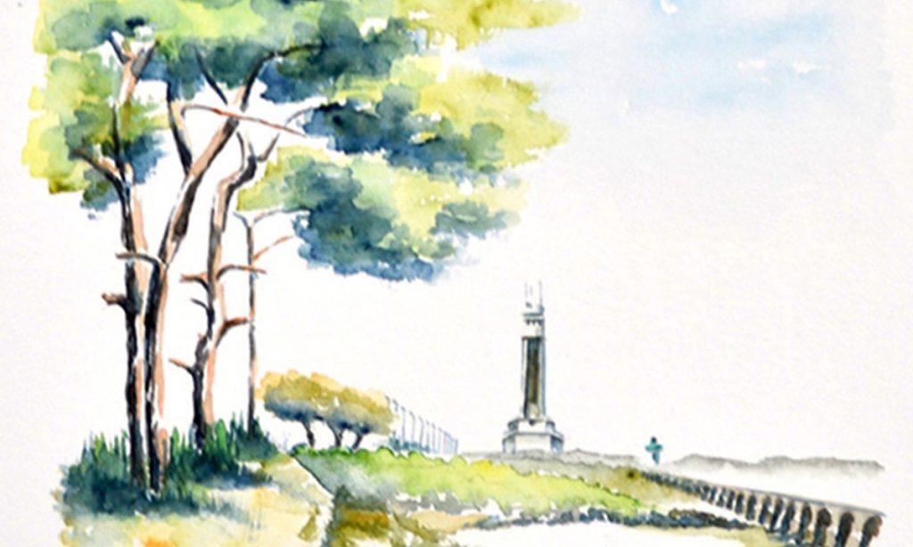 Aquarelles du Pays Basque. Sur la gauche, perspective d'une allée de pins parasols, prolongée par des tamaris puis des lampadaires. En fond, au centre droit, le phare d'Anglet. sur la droite, nouvelle perspective de contrefort d'un canal.