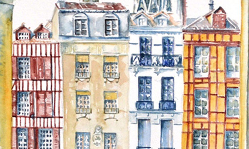 Aquarelles du Pays Basque : Détail de 4 immeubles au style basque qui sont le long de la Nive à Bayonne