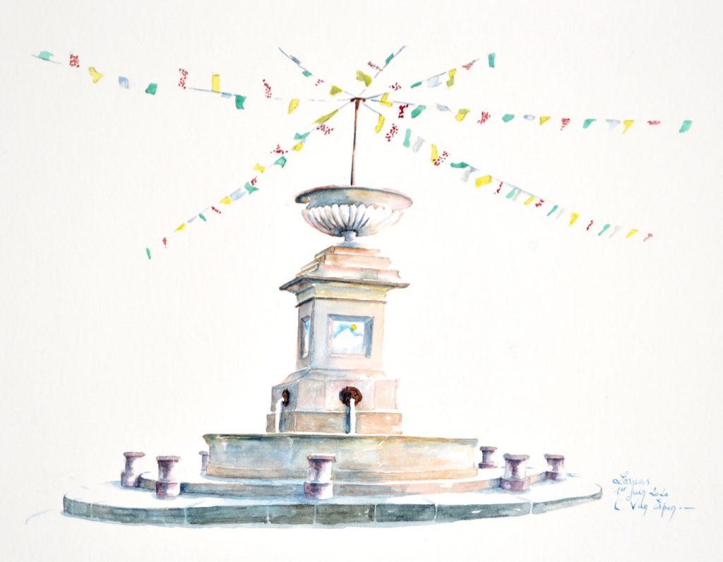 Aquarelles du Béarn, Laruns, la fontaine de la place du village surmontée de guirlandes de fanions aux couleurs des maillots du tour de France