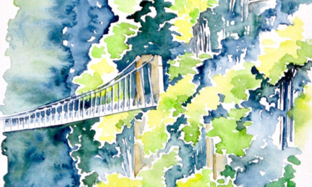 Pays Basque en aquarelle, passerelle d'Olzarte avec vue sur une des portes du pont et sur la falaise envahie de différentes essences