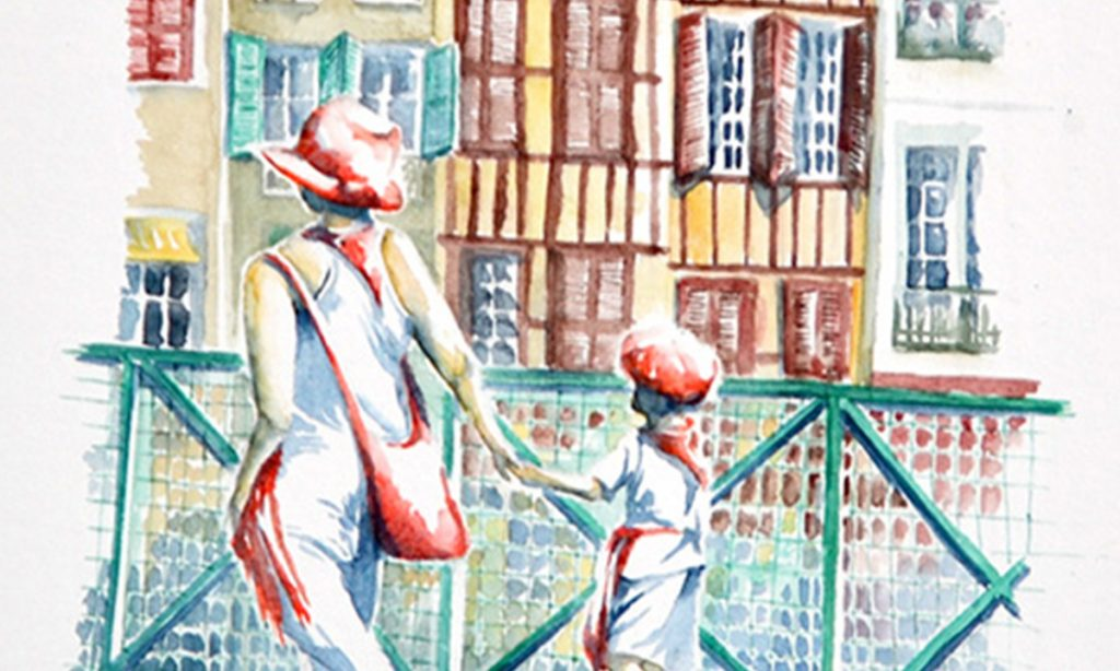 Aquarelles du Pays Basque, détail : Une femme donne la main à un enfant. En tenue blanche et accessoires rouges, ils marchent sur un pont. En fond, un quai de bayonne identifiable à ses immeubles étroits, aux couleurs basques