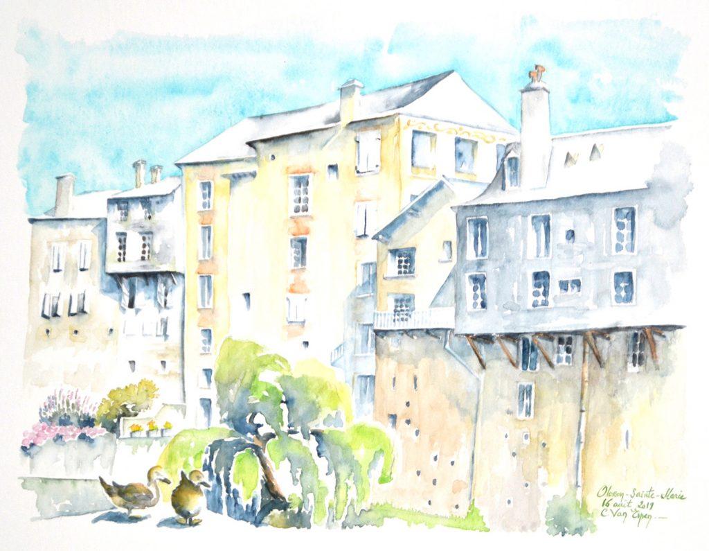 Aquarelles du Béarn, les bods du gave à Oloron-Sainte-Marie, en premier plan gauche deux canard, puis un saule pleureur et derrière, les immeubles de ville si caractéristiques