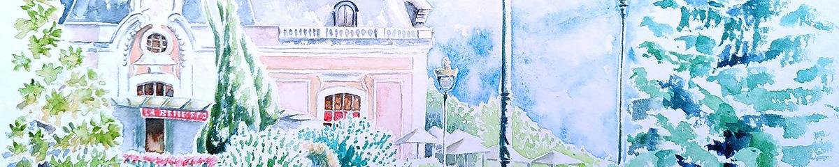 Aquarelles de Pau, le palais Beaumont (détail de l'aquarelle)