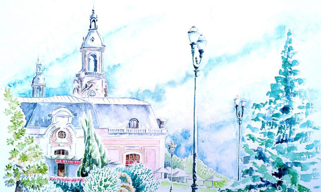 Aquarelles de Pau, Palais Beaumont vue de l'entrée d'honneur. En premier plan, un ensemble paysager avec une succession de différentes essences. sur la droite pour renforcer la profondeur, les candélabres qui souligne la route (absente de l'aquarelle). Plus à droite un sapinu