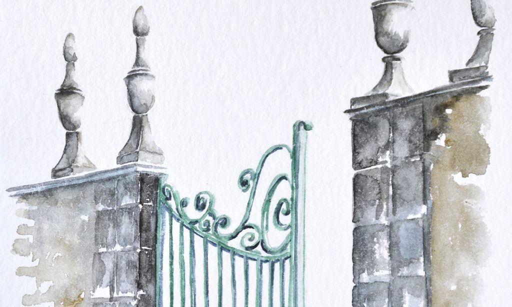 Aquarelles du Béarn, détail d'un portail traditionnel