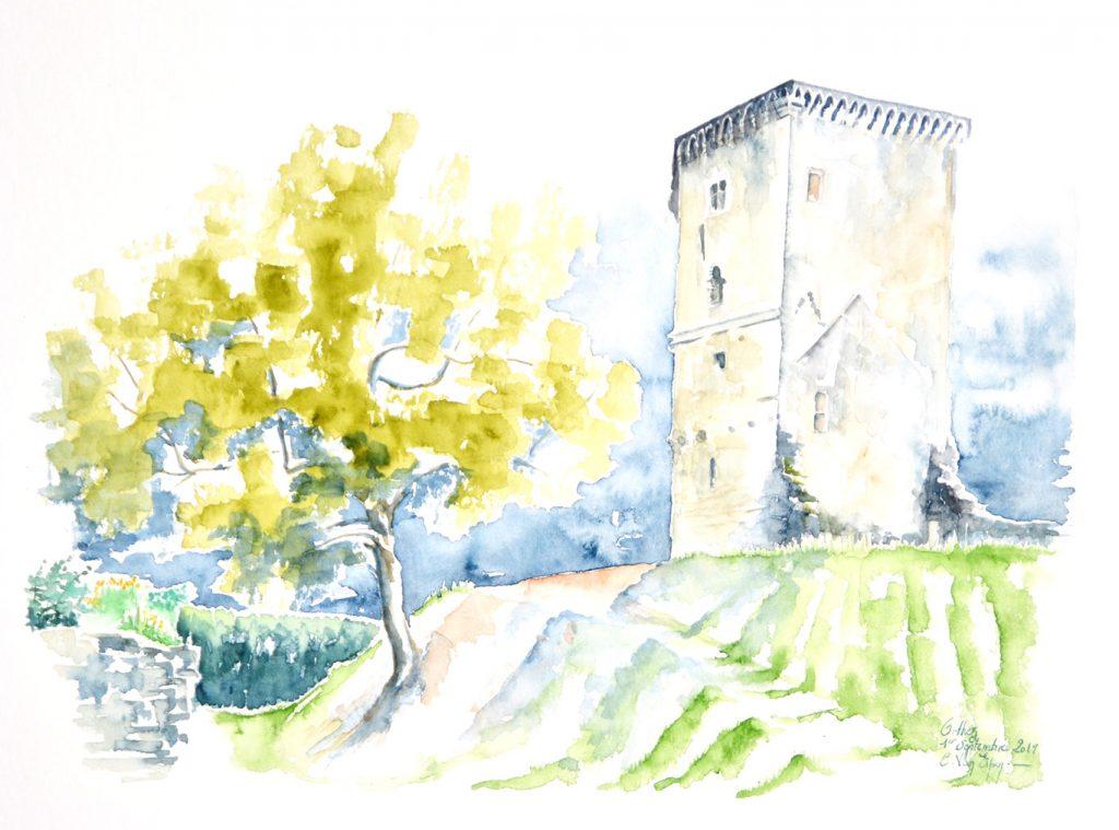 Aquarelles du Béarn, Tour Moncade à Orthez