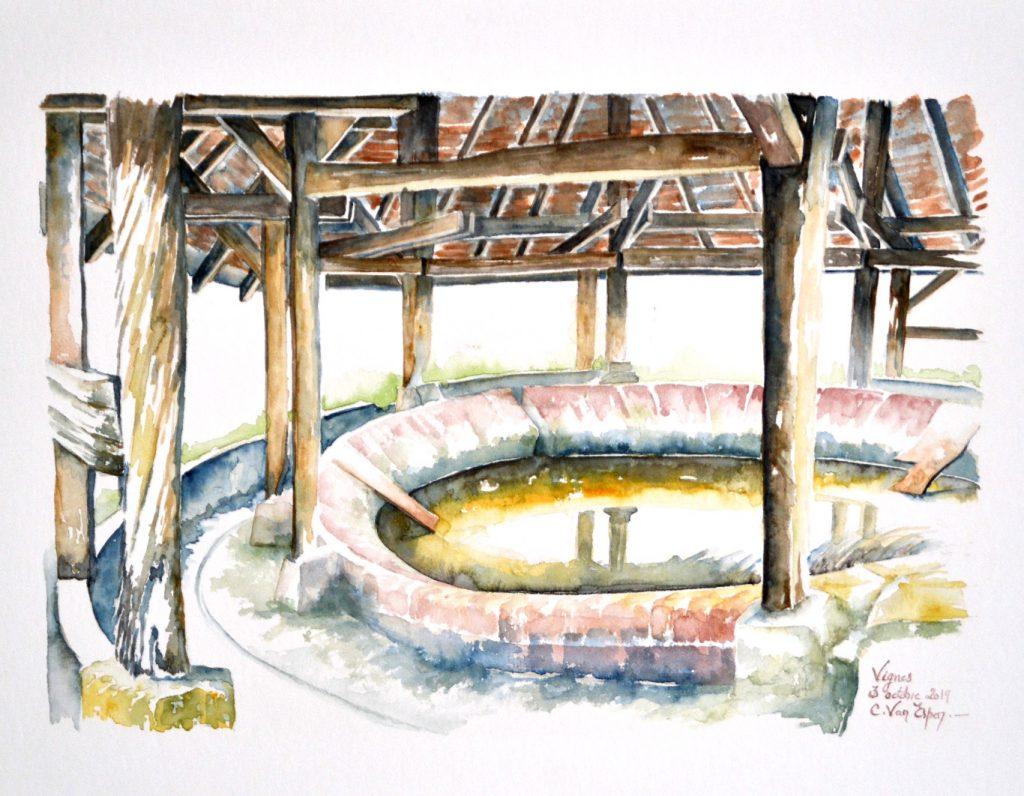 Aquarelle du Béarn : lavoir de Vigne, un bassin d'eau de forme circulaire est surmonté d'une toiture de tuiles posées sur une charpente circulaire